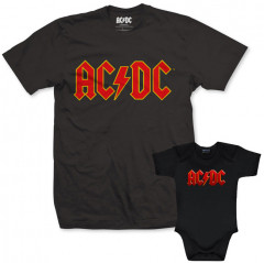 Duo Rockset AC/DC Vater-T-shirt & AC/DC body baby rock metal Color Logo